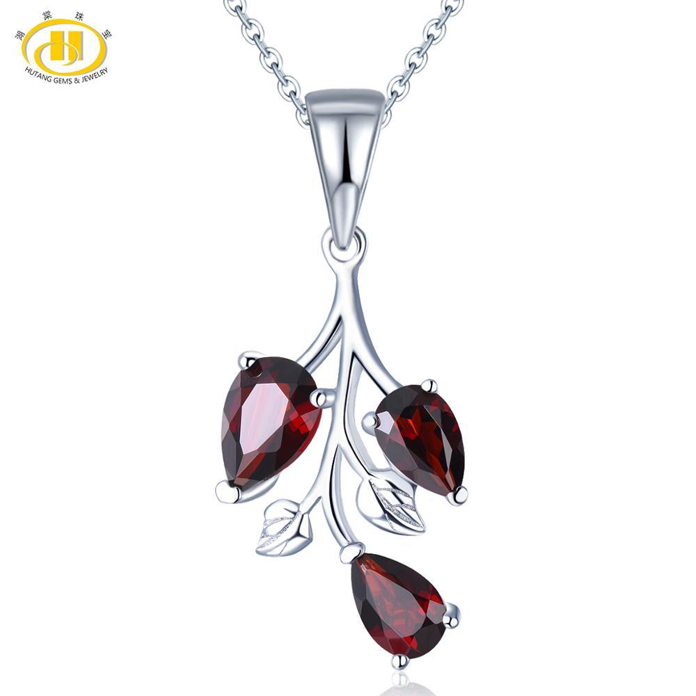 Hutang Garnet 925 Silver Pendant, Natural Red Pomegranate Pendant Gemstone Fine Elegant Jewelry For Women, 18 Inch Silver Chain