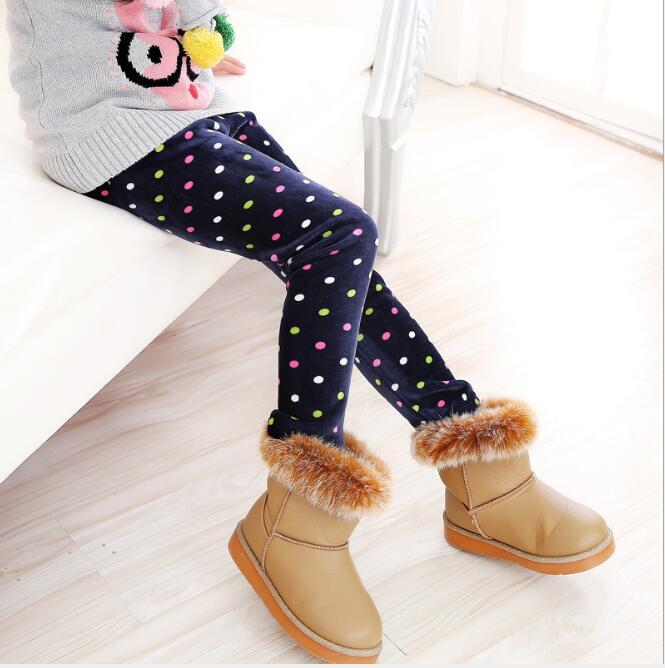 VEENIBEAR/осенне-зимние штаны для девочек, бархатные плотные теплые леггинсы для девочек, детские штаны, одежда для девочек на зиму, От 2 до 7 лет - Цвет: zangqing caiyuandian