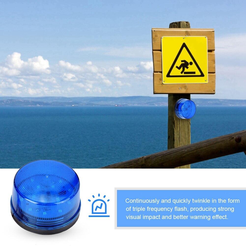 12V Blue LED Strobe Beacon Emergency Alarm Warning Signal Flashing Light Without Sound Safety Warning Blue Flashing LED Light
