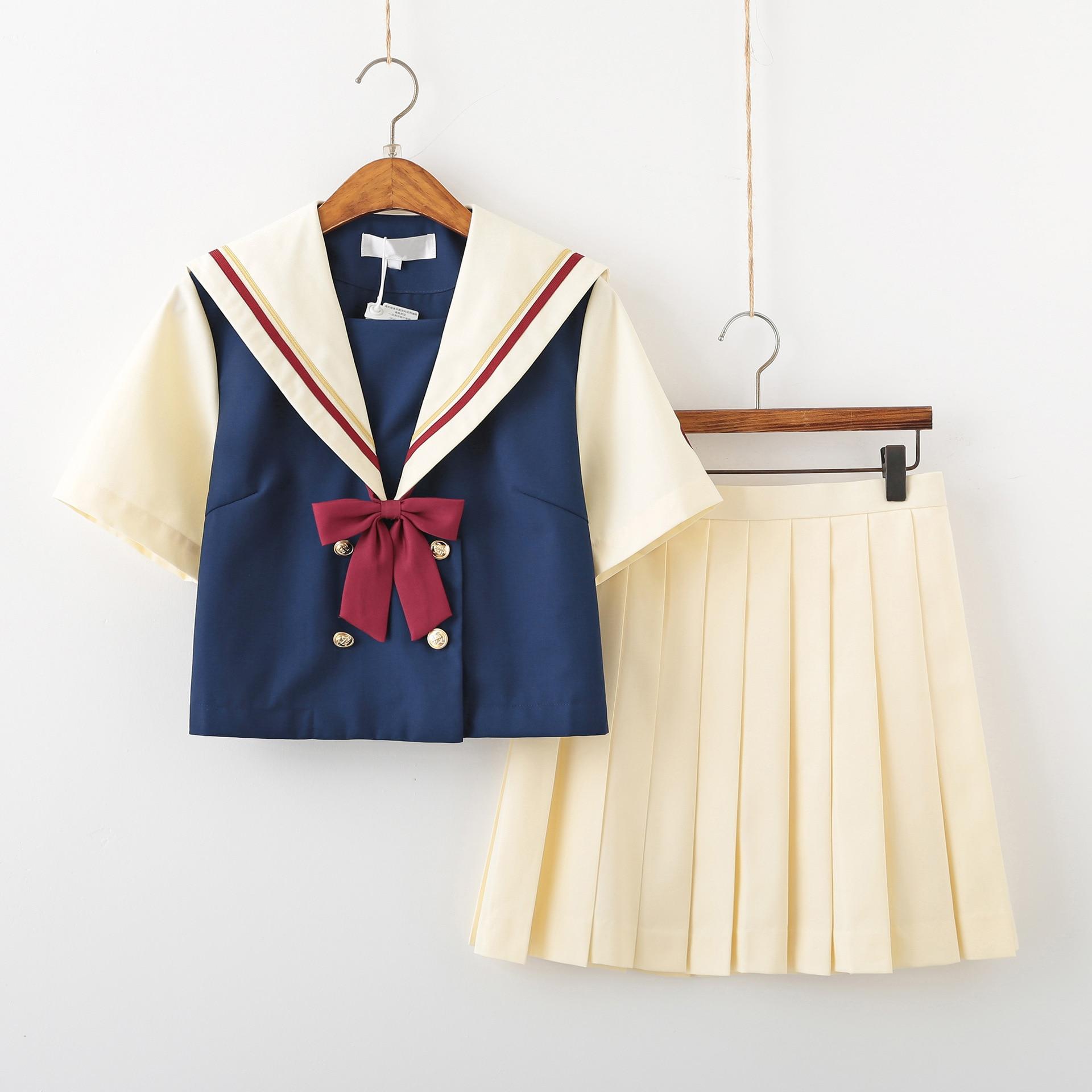 New Light Yellow School Uniforms Design Short And Long Sleeve Collage Student Sailors Uniforms Jk Cosplay