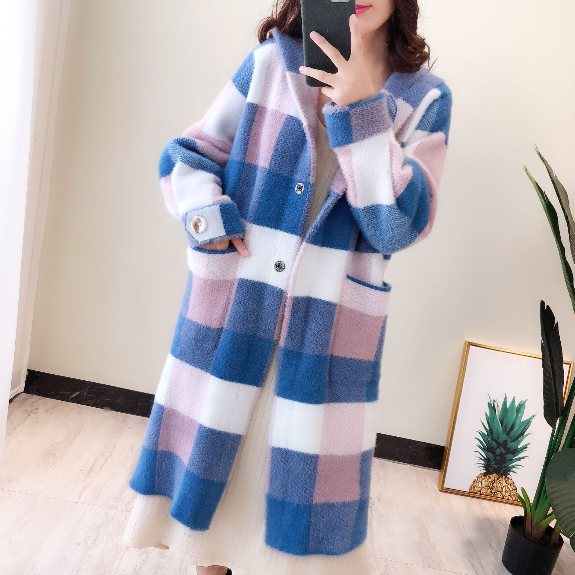 Autumn Winter New Plaid Mink Cashmere Coats Knitting Hooded Sweater Long Cardigan Coat Women Loose Warm Sweaters Thick Outerwear in Cardigans from Women 39 s Clothing