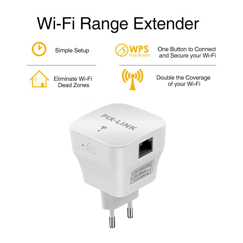 PIXLINK WiFi Repeater 300Mbps Wireless Router Long Range Extender Booster Repiter Wi-fi Access Point Amplifier Simple Setup WR12