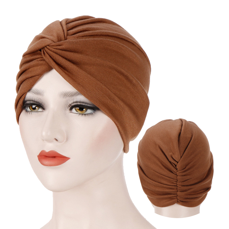Muslim Jersey Hijab Turban Cap Forehead Cross Soild Color Turbante Hat Islamic Headwear India Bonnet For Women Inner Hijab Caps
