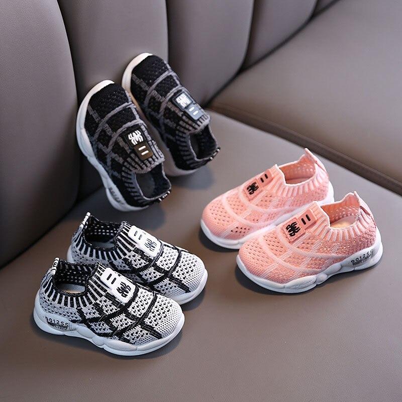 criancas walkers sapatos respiravel infantil da crianca sapatos meninas menino casual malha sapatos de fundo macio