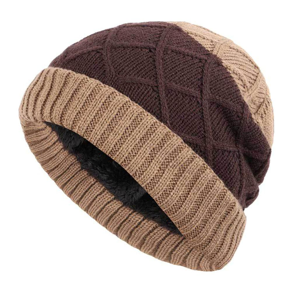 Knitted Cotton Cap - Unisex Wool Cap Plaid Head Cuffed Beanie Knitted Warm Hat For Autumn And Winter