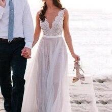 Винтажные кружевные свадебные платья, пляжные свадебные платья с v-образным вырезом, трапециевидные Свадебные платья из тюля без рукавов