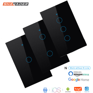 Image 1 - Wifi Smart Light Wall Switch Glass Screen Touch Panel 170 250V Remote Wireless Electrical Control work for Alexa Google Home