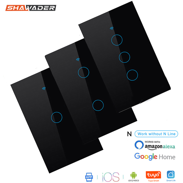 Wifi Smart Light Wall Switch Glass Screen Touch Panel 170 250V Remote Wireless Electrical Control work for Alexa Google Home