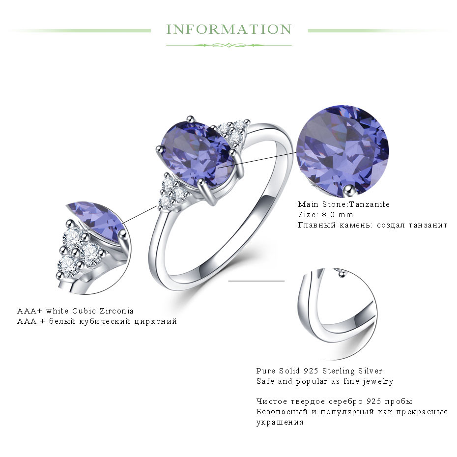 Kuololit Solid 925 Sterling Silver Rings For Women Created Tanzanite Gemstone Ring Wedding Engagement Band Fine Kuololit Solid 925 Sterling Silver Rings For Women Created Tanzanite Gemstone Ring Wedding Engagement Band Fine Jewelry New