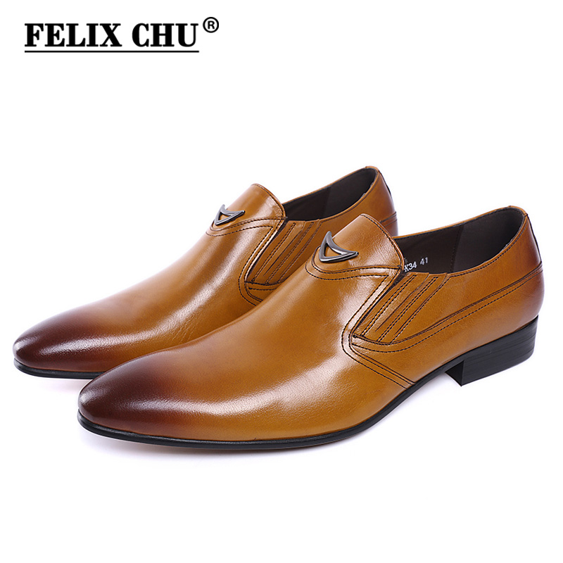 FELIX CHU Italian Style Black Yellow Genuine Leather Men Loafer Slip On Formal Shoes Wedding Party Pointed Toe Male Dress Shoe-in Formal Shoes from Shoes    1