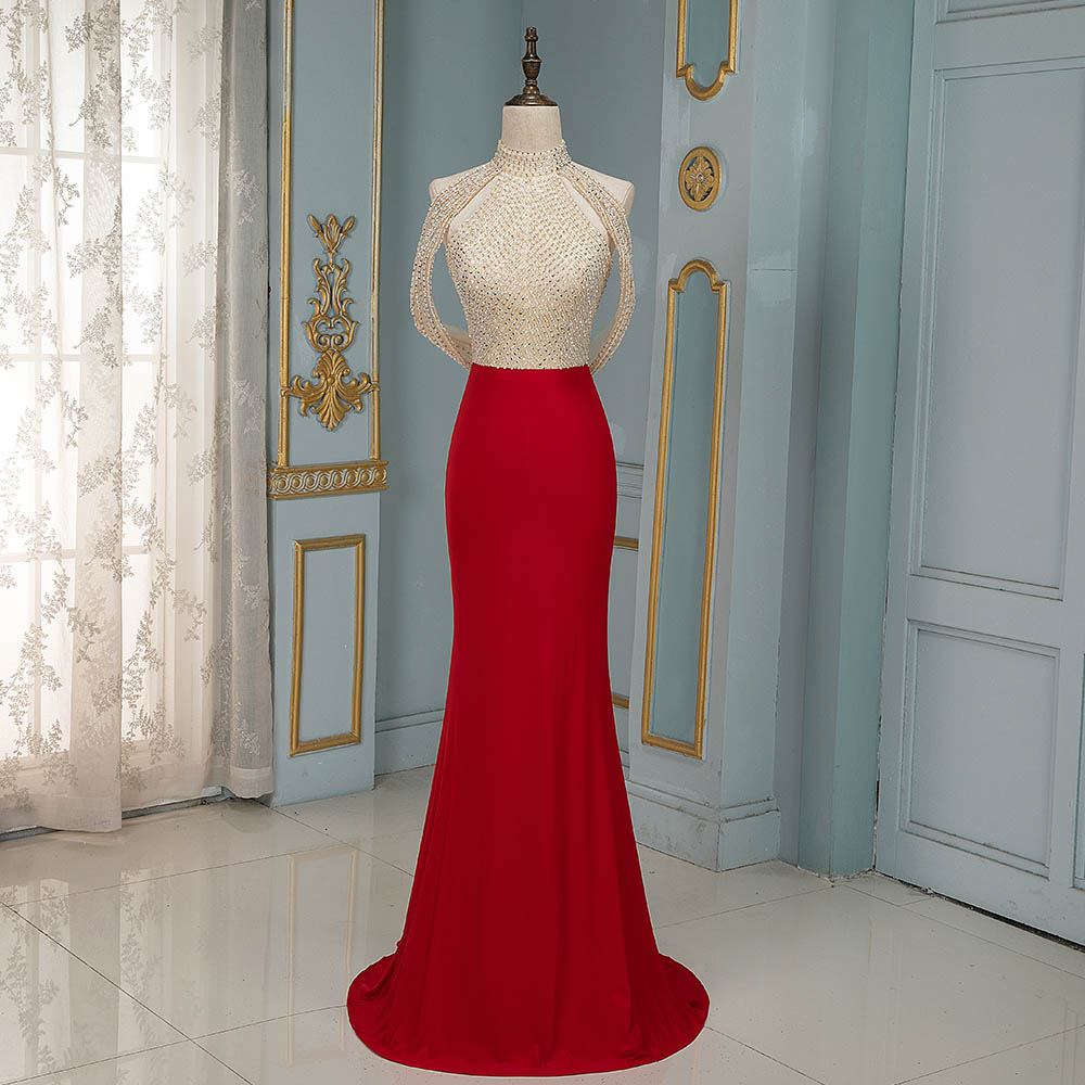 YQLNNE Red Mermaid Evening Dresses Long High Neck Beading Formal Gown Backless Robe De Soiree