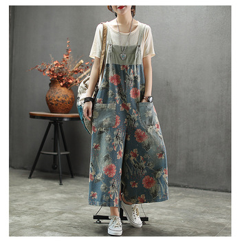 2020 Summer Woman Plus Size Denim Overall Pants Vintage Floral Print Spaghetti Strap High Waist Casual Loose Jumpsuit Rompers graceful spaghetti strap floral print plus size underwire bikini set for women