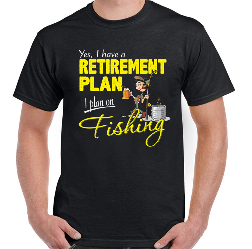 Fishing Retirement Plan Mens Funny Angling T-Shirt Fisherman Angler Fish Sea Rod Cool Tops Tee Shirt image