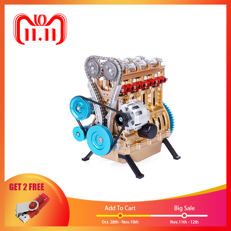 1Set All-Metal Car Mini Assemble Inline Four-Cylinder Engine Model Kits Toys For Researching Industry Study  Toy Gift Set