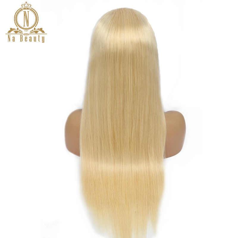 Rechte Blonde 613 Full Lace Pruik Menselijk Haar Pruiken Voor Vrouwen Braziliaanse Pre Geplukt HD Full Lace Menselijk Haar Pruiken naBeauty 150%
