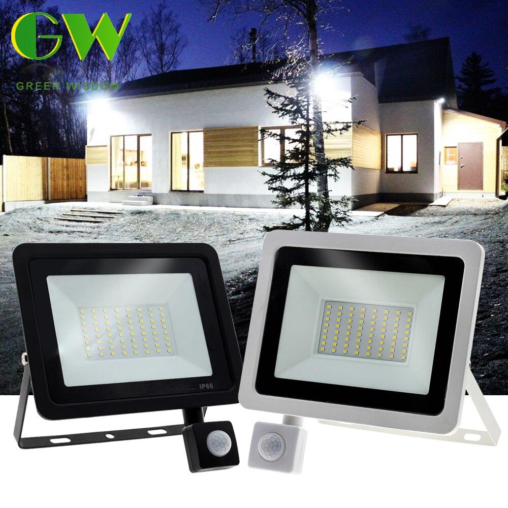 PIR Motion Sensor Street Light 30W 50W 100W LED Flood Light 220V Outdoor Floodlight Waterproof Spotlight for Garden Wall Street