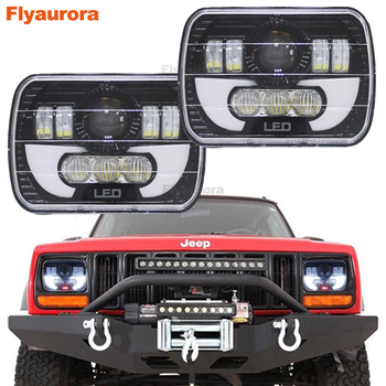 """Flyaurora Pair 7X6 inch LED Headlights H4 Light For Jeep Wrangler YJ Cherokee   Comanche 5x7"""" Led Square Headlights With DRL"""