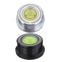 2 pces 3 in1 metal record clamp lp disco estabilizador plataforma giratória para vinil registro plataforma giratória vibração balanceada preto & silve|Plat. rotat.| |  -