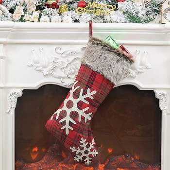 New Christmas Stockings,4 Pcs 18 Inches Burlap with Large Plaid Snowflake Stockings, for Family Holiday Xmas Party Decorations