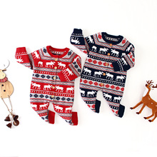 Christmas Baby Romper Deer Knitted Clothes Newborn Boy Girl Costume 100% Cotton Infant Jumpsuit