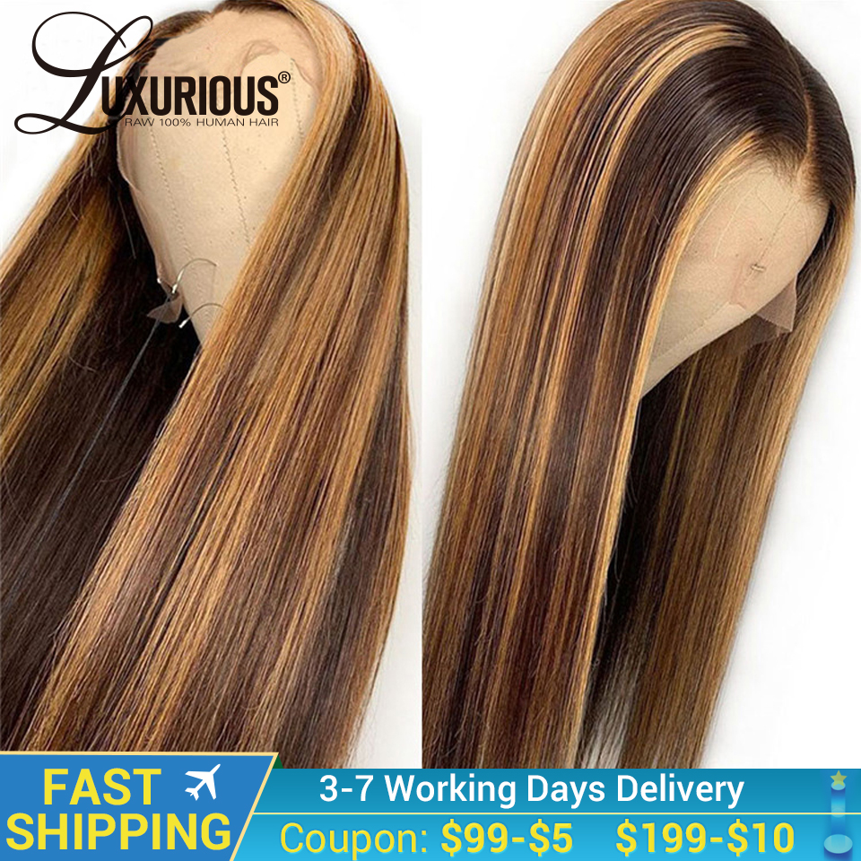 Wig Straight Human-Hair Remy-Highlight Honey Blonde Lace-Front Brown Bleach 13x6 Ombre title=