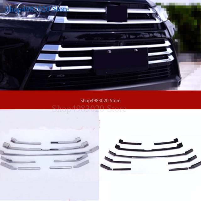 Car styling body cover ABS chrome racing engine trim Front bumper grid grill grille hoods part For Toyota Highlander 2018 2019 1