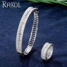RAKOL Sleek Cubic Zircon Luxury Bracelet Rings Jewelry Set Personality Crystal Women Hand Dress Accessories RS03043