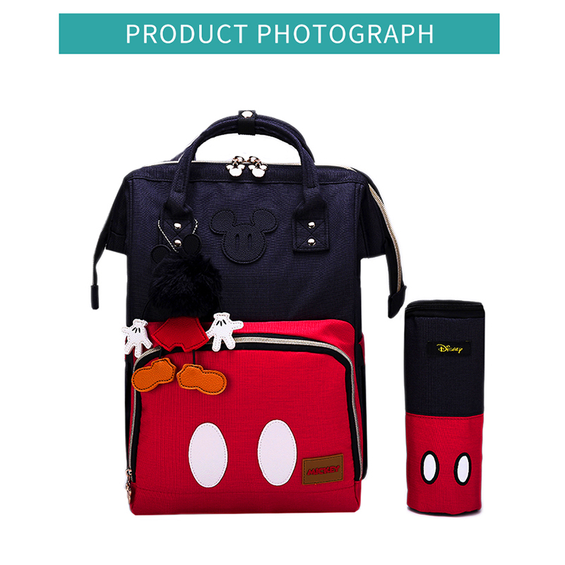 Disney Mickey Classic Red Diaper Bags Mummy Maternity Backpack Waterproof Large Capacity Bag Nursing Baby Bag Travel Nappy Bags