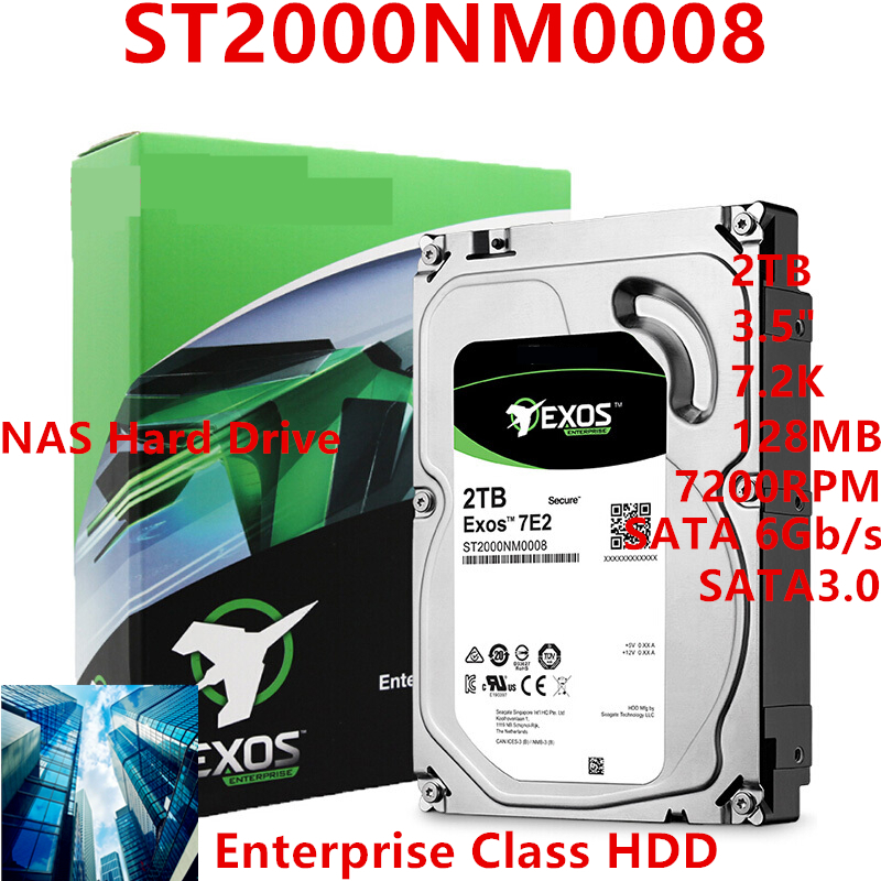 """New HDD For Seagate Brand 2TB 3.5"""" 7.2K SATA 6Gb/s 128MB 7200RPM For Internal Hard Disk For EnterpriseHDD For ST2000NM0008 1"""