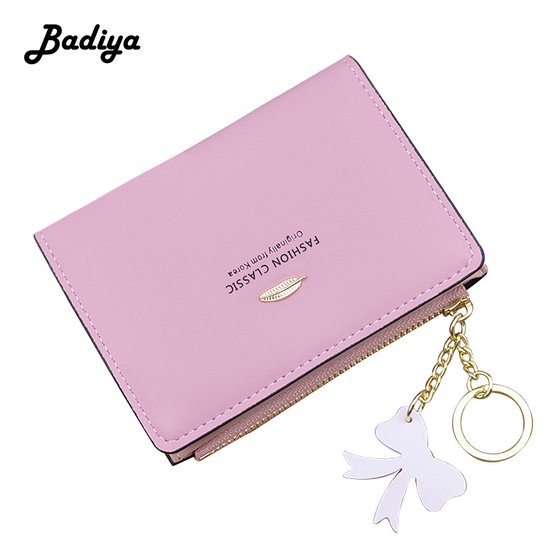 Brief Women Wallet Solid Color Leaves Tassel Short Zipper Coin Purse Multi-card Position Credit Card Holder Ladies Clutch Bag