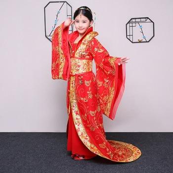 Disfraz de etapa hanfu para niños, disfraz femenino de dinastía Tang, Palacio Imperial, cola roja bordada, princesa antigua, hada hanfu
