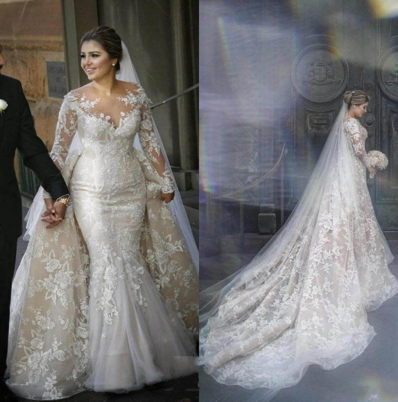 Vestido De Noiva 2 Em 1 Luxury Full Lace Wedding Dress Mermaid Illusion Long Sleeve Wedding Gowns Robe De Mariee Sirene