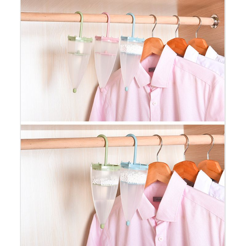 Cute Mini Umbrella Shaped Hanging Desiccant Bag Moisture Absorbers Box Household Replaceable Mildew Proof Wardrobe Dehumidifier