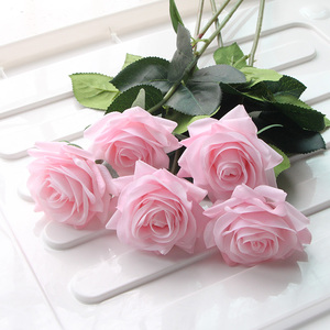 Image 2 - 7 Pcs Real Touch Rose Branch Stem Latex Rose Hand Feel Felt Simulation Decorative Artificial Silicone Rose Flowers Home Wedding