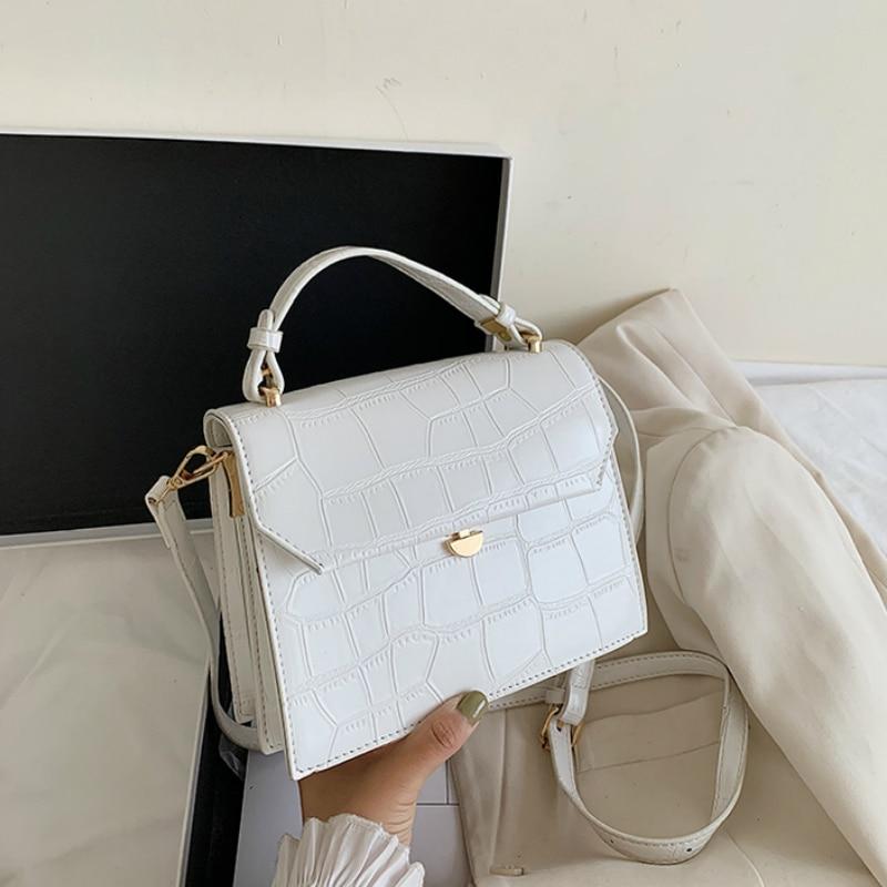 Stone Patent White Crossbody Bags For Women 2020 Small Handbag Small Bag PU Leather Hand Bag Ladies Designer Evening Bags