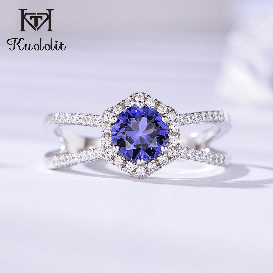 Kuololit Tanzanite Gemstone Rings For Women Solid 925 Sterling Silver  Hyperbola Ring For Wedding Romantic Gifts Fine Jewelry