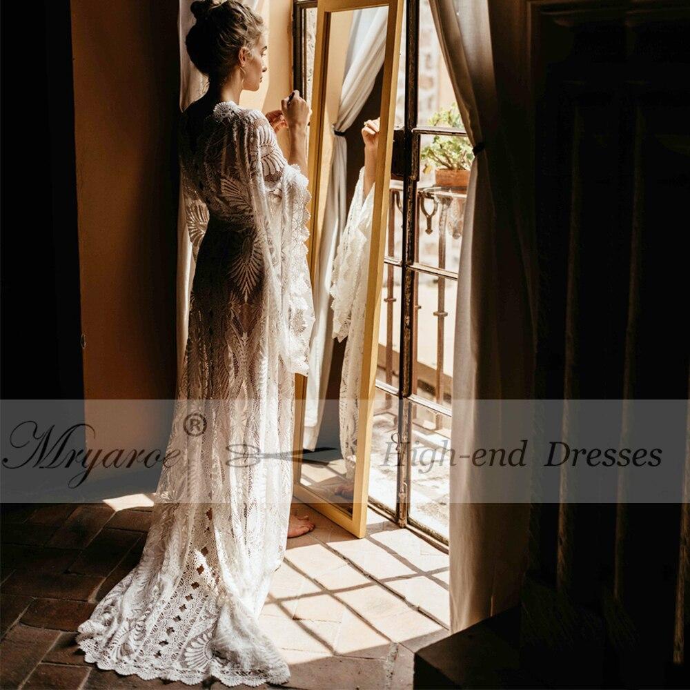 Свадебное платье Mryarce в богемном стиле, кружевное платье, свадебные халаты nu Caftan с рукавами в стиле бохо