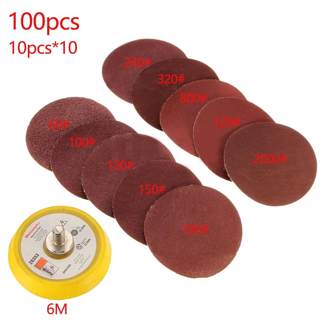 100pcs/set Durable Sander Disc 50mm 60-2000 Grit Paper + 1pc Hook Loop Plate Fit Dremel 4000 Electric Grinder Abrasive Tools