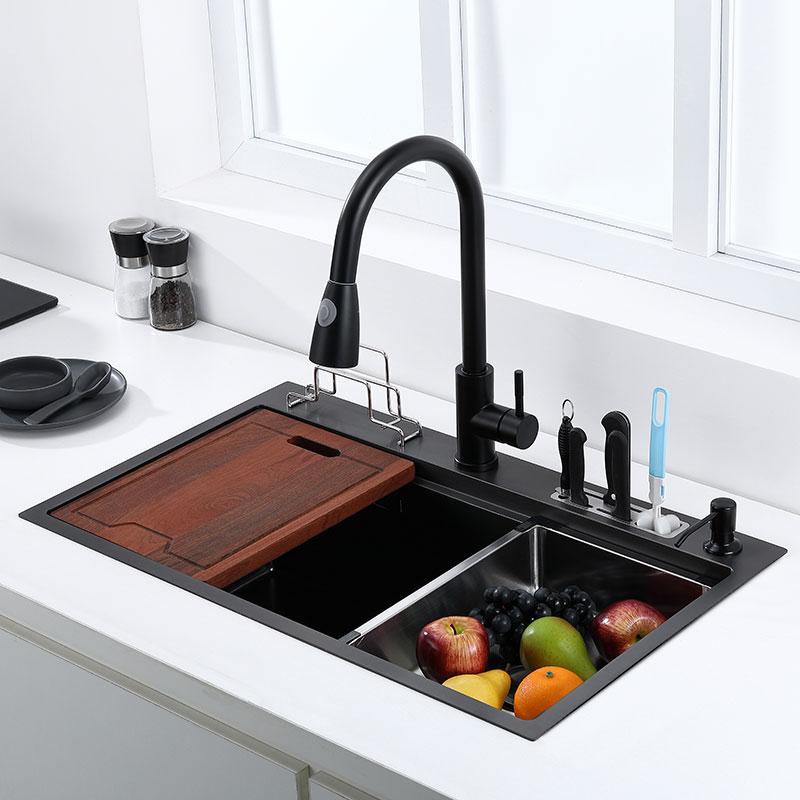 Pia de cozinha preta com suporte de faca bacia de lavagem vegetal com placa de corte pia de aço inoxidável pia preta alta e baixa