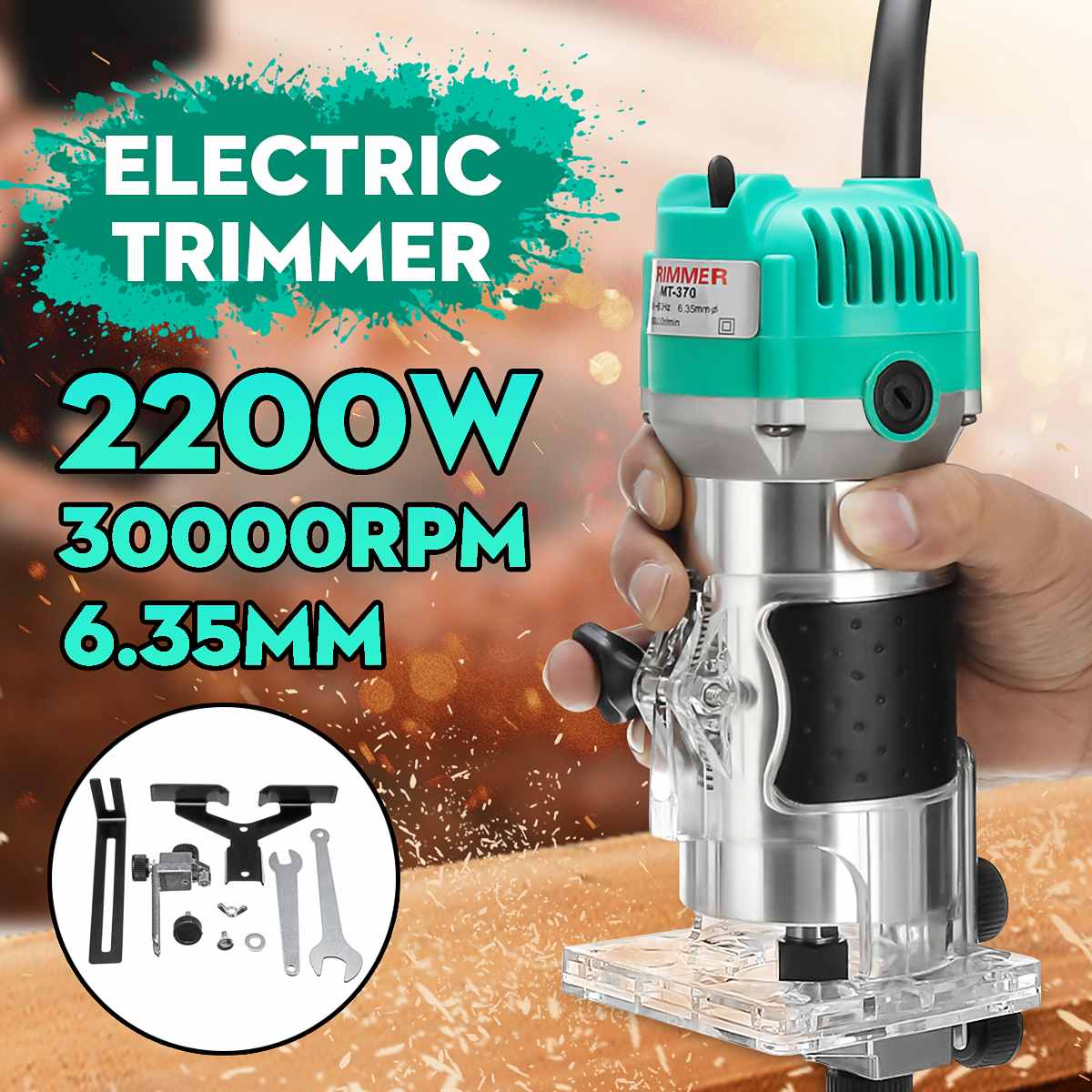 1/4 Inch 2200W Woodworking Electric Trimmer Wood Milling Engraving Slotting Trimming Machine Hand Carving Machine Wood Router