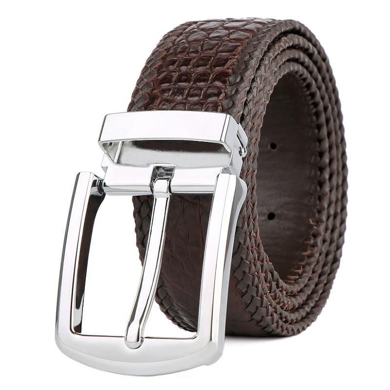 Offre spéciale marque de luxe 2019 nouvelle ceinture de cuir pour hommes crocodile ceinture tissée à la main coréenne décontracté en cuir boucle ardillon ceinture livraison gratuite
