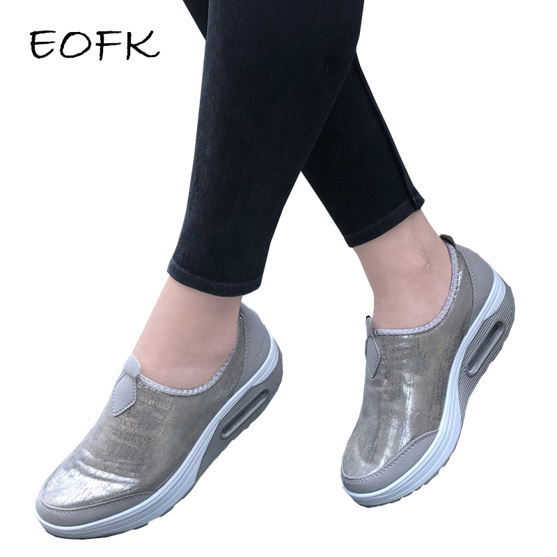 EOFK 2021 Women Flats Loafers Shallow Trainers Comfort Moccasins Slip on Platform Ballet Sneakers Ladies Casual Shoes