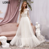 LORIE Boho Tulle Wedding Dresses Long Sleeve Open Back Beach Bridal Gowns Simple Lace Appliques Country Princess Dress Elegant
