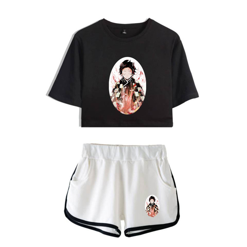 Demon Slayer Two-piece Suit 2019 Summer Fashion Casual Lumbar Belly Short Sleeve T-shirt+shorts Hot Hip Hop Two-piece Suit 2XL