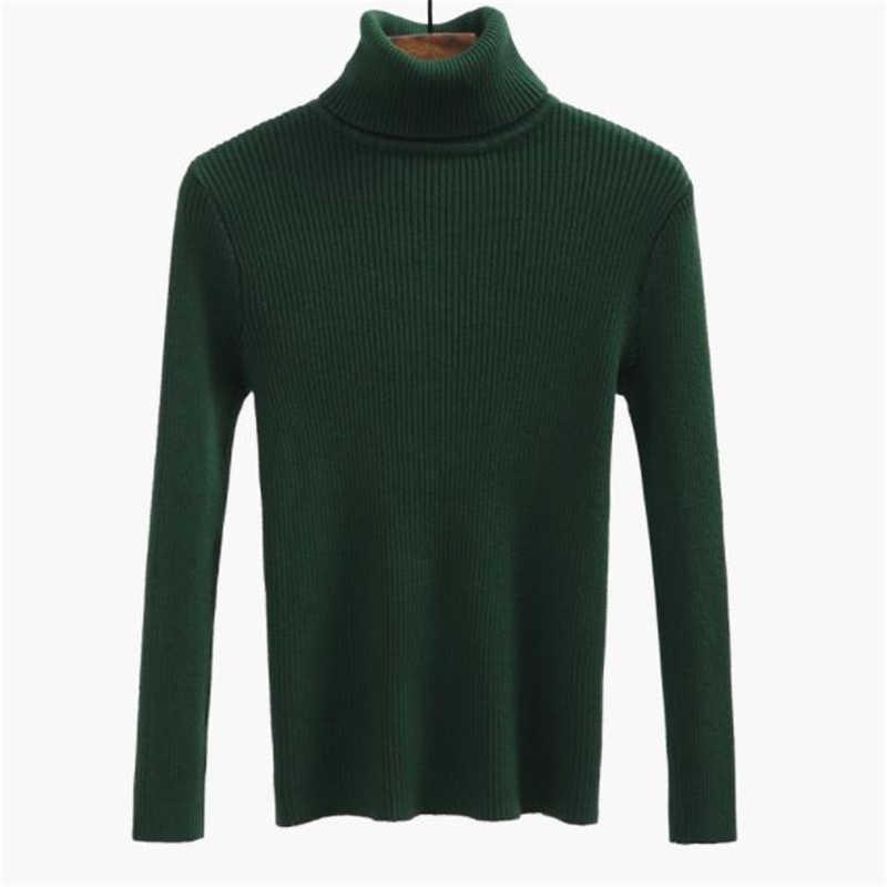Женский свитер высокого качества, пуловер с высоким воротом, зимние топы, однотонный кашемировый свитер, Осенний женский зимний свитер