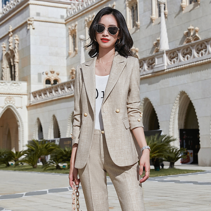 Plus size women's high quality professional female suit pants New autumn and winter slim plaid jacket overalls Casual trousers