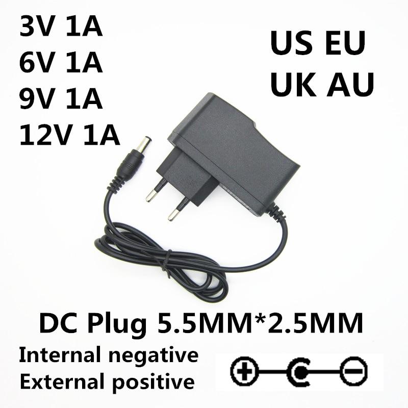 AC 100-240V to DC 3V 6V 9V 12V 1A 1000MA Universal AC / DC adapter charger Switch power supply Reverse polarity US EU AU UK Plug