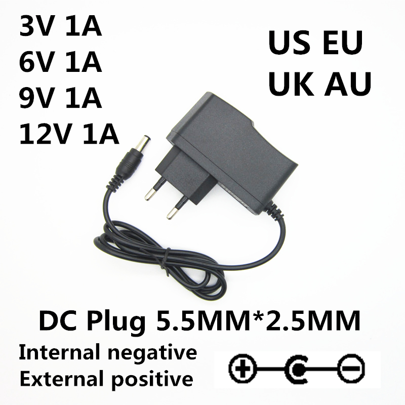 Opposite polarity <font><b>AC</b></font> 100-240V <font><b>DC</b></font> <font><b>3V</b></font> 6V 9V <font><b>12V</b></font> 1A 1000mA Universal <font><b>AC</b></font> / <font><b>DC</b></font> adapter charger power supply Reverse polarity image