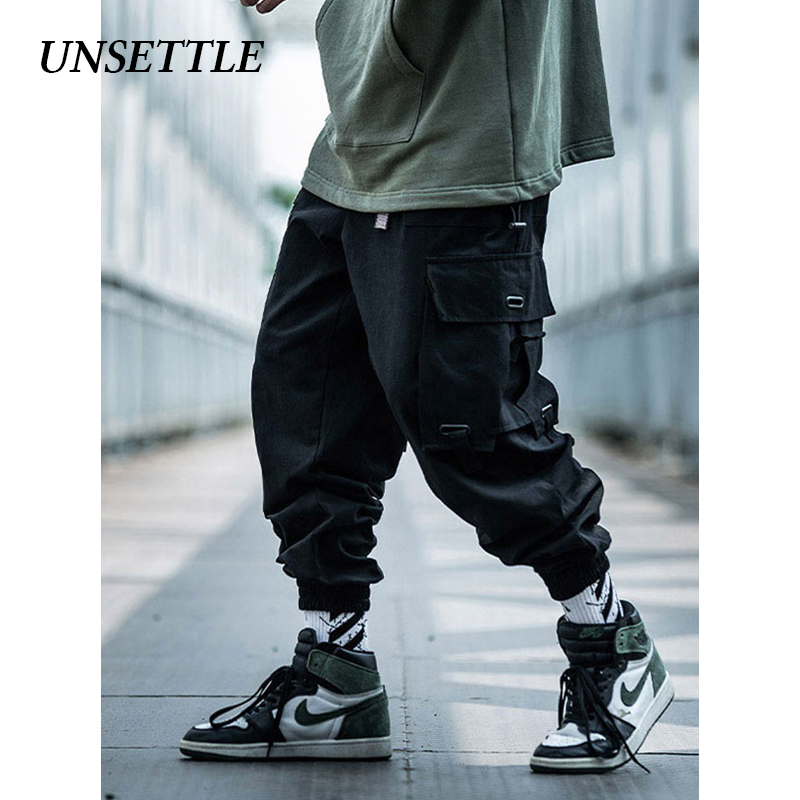 UNSETTLE 2019 Japanese Side Pocket Cargo Harem Pants Mens Casual Jogger Streetwear Hip Hop Streetwear Trousers Male