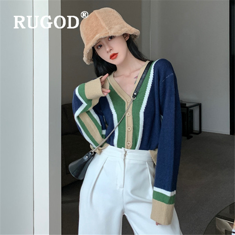 RUGOD Color Block Knitted Cardigan V-neck Sweater Womens Sweaters 2019 Winter Tops For Women Knitwear Fashion Kpop Clothes